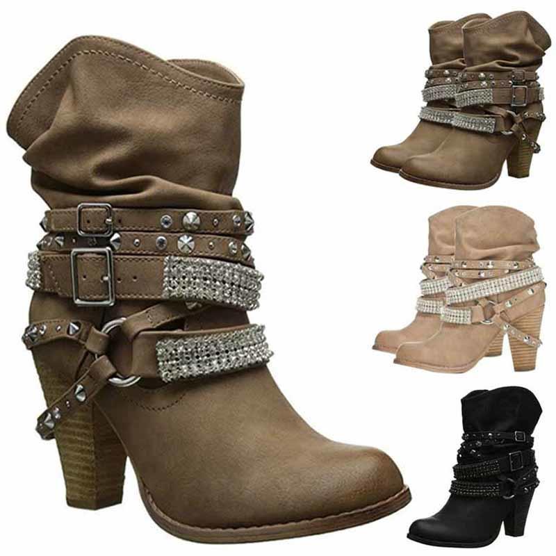 Zapatos cuero remache arranque cinturón hebilla Vintage alta ... d3ede26bdaa9