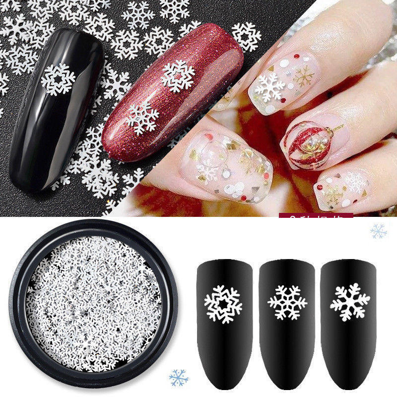 Navidad uñas arte UV Gel decoración mixta tamaño escama de nieve ...