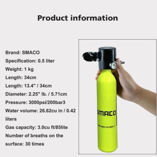 Mini Diving Euipment Mini Scuba Equipment Oxygen Tank 0 5L Diving Cylinder