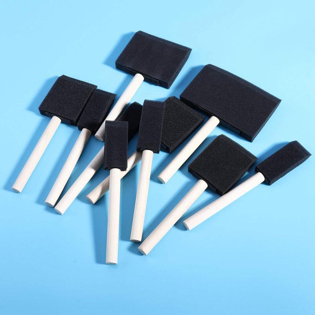 ROSENICE Foam Brush Painting Sponge Tool with Hardwood Handles Pack of 10