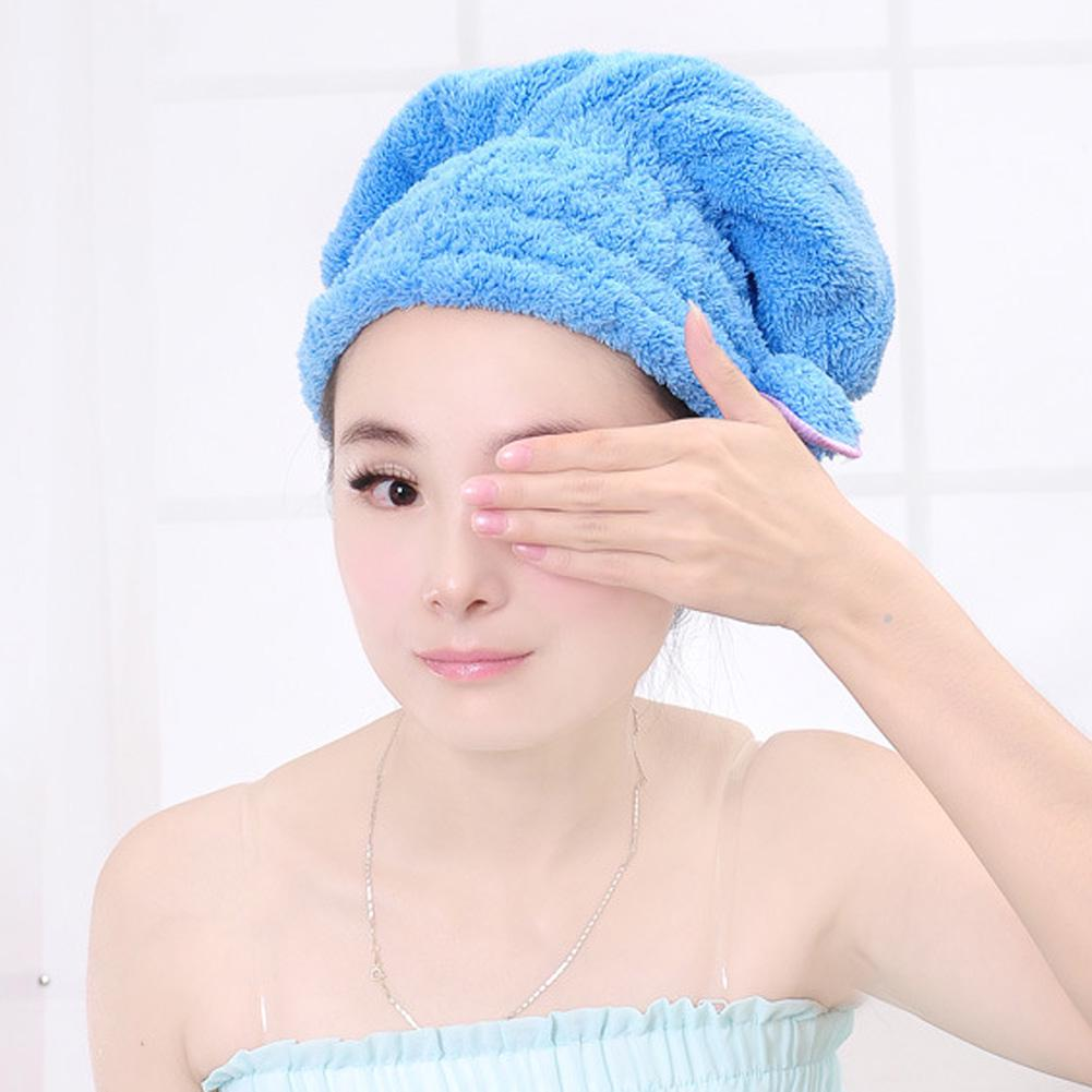 5151cb94eb8 Colorful Shower Cap Wrapped Towels Microfiber Bathroom Hats Solid ...