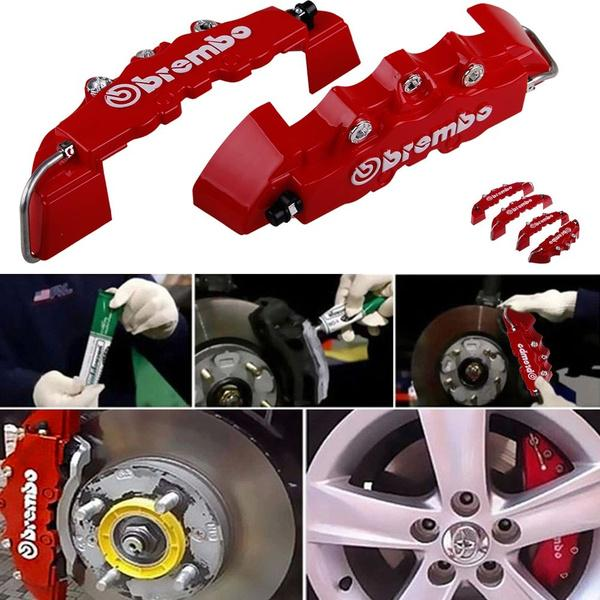 4pcs Disc Brake Caliper Covers Parts Front Rear 3D Car For 14-17 inch wheels.