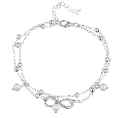 ac407a89e68a Símbolo infinito pie descalzo perla brillante tobilleras cadena pulsera  mujer joyería de los pies