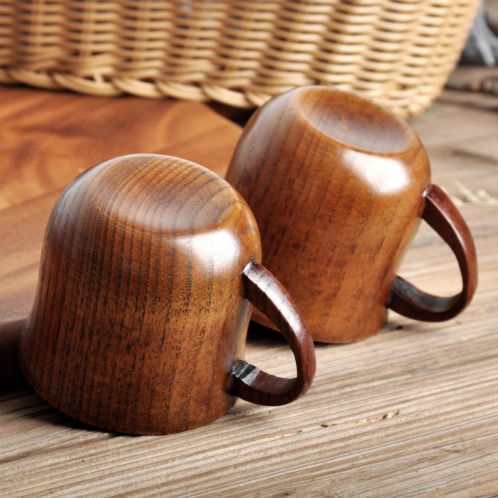 Handmade Wood Coffee Mug Cups Teacups Decorative Cups Rubber