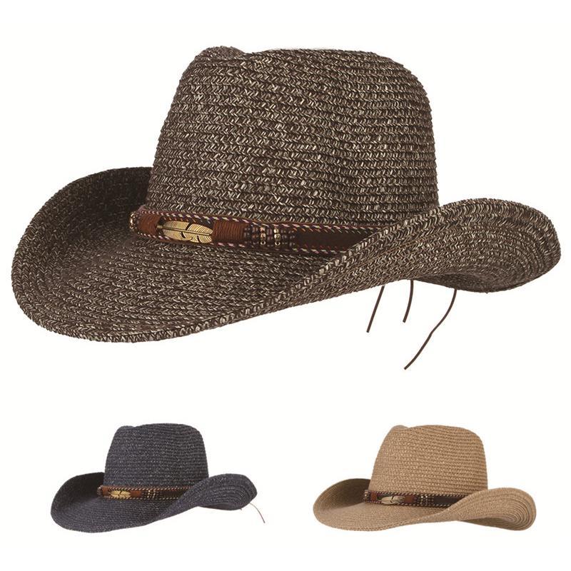 e9a1673a3ec4a Chapéu de caubói vintage vaqueiro ocidental chapéus de palha para homens  mulheres pena de liga miçangas vaqueira boné de jazz