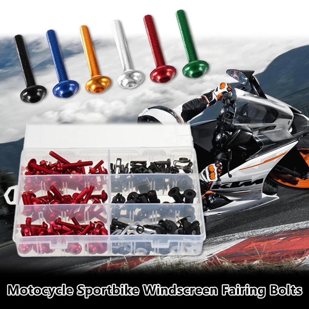 100Pcs Komplette Verkleidungsschraubensatz Körperschrauben für Motorrad