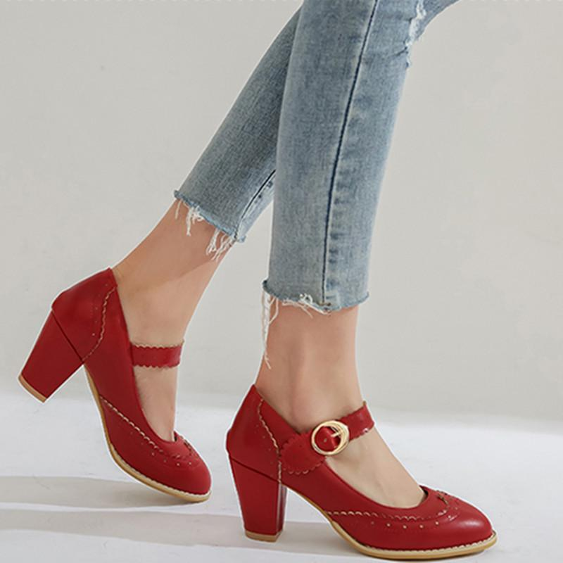 Women Round Toe Mary Janes Shoes Buckle Strap Square Heel High Heels Spring Autumn Fashion Wedding Party Pumps
