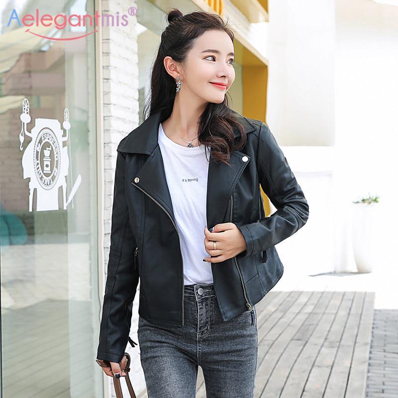 Fall Women Lady PU Leather Jacket Biker Motorcycle Coat Irregular Casual Outwear
