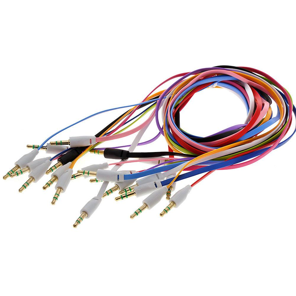 35mm Aux Male To Auxiliary Sound Stereo Audio Flat Cable Cord Re Light Rose Wiring Color Black White Red Blue Deep Green Purple Pink Orange Package Included 1 X No Retail Box