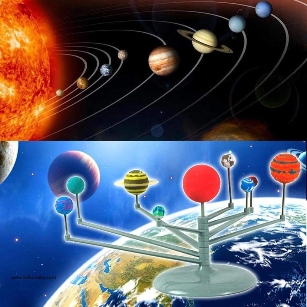 Nine Planets Models Toy Puzzle Assembling Solar System Planetarium DIY Toy Set