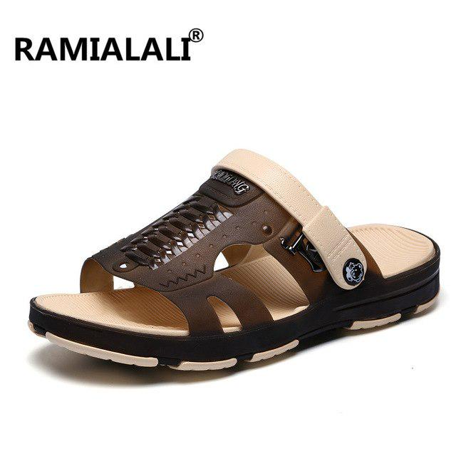 Summer Tide Mens Slippers British Fashion Men Sandals Genuine Cow Leather Lazy Beach Sandals flip Flops Men Summer Shoes Brown