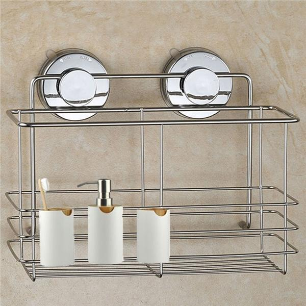 Chrome Bathroom Storage Rack Toilet Sundries Holder Shelf Basket With Suction