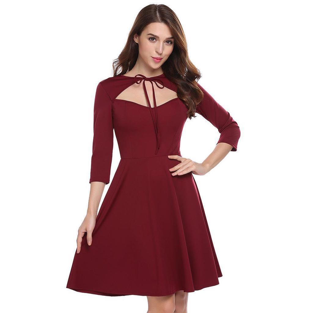 Roser Frauen binden Schlüsselloch solide a-Linie Kleid – zu den ...