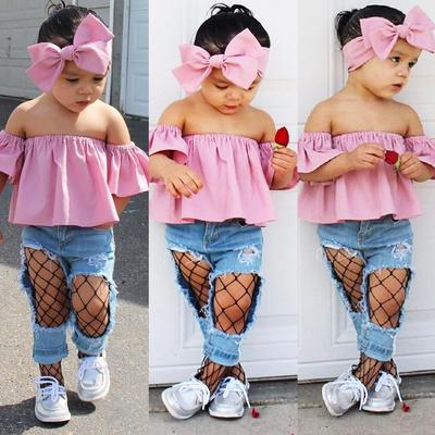 3Pcs Toddler Kids Girls Off Shoulder Tops Denim Pants Jeans Outfits Set Clothes
