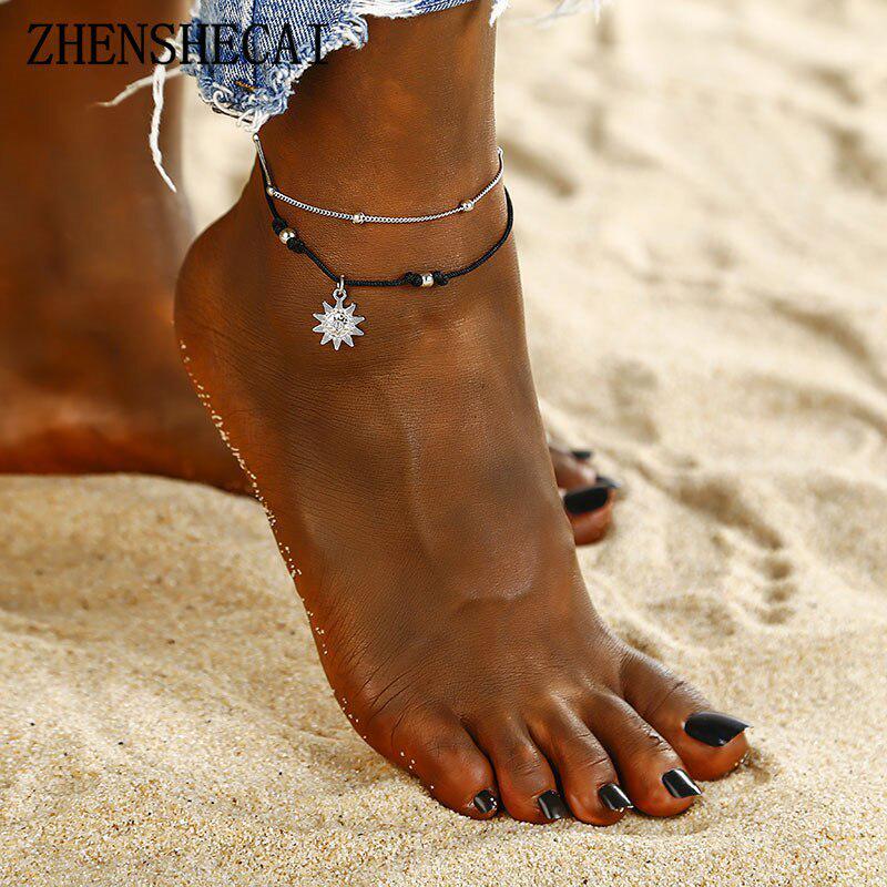 Винтаж ные бусины Anklets Boho Multi слой для женщин Мода Sun Кулен Цепь браслет ювелирные изделия фото