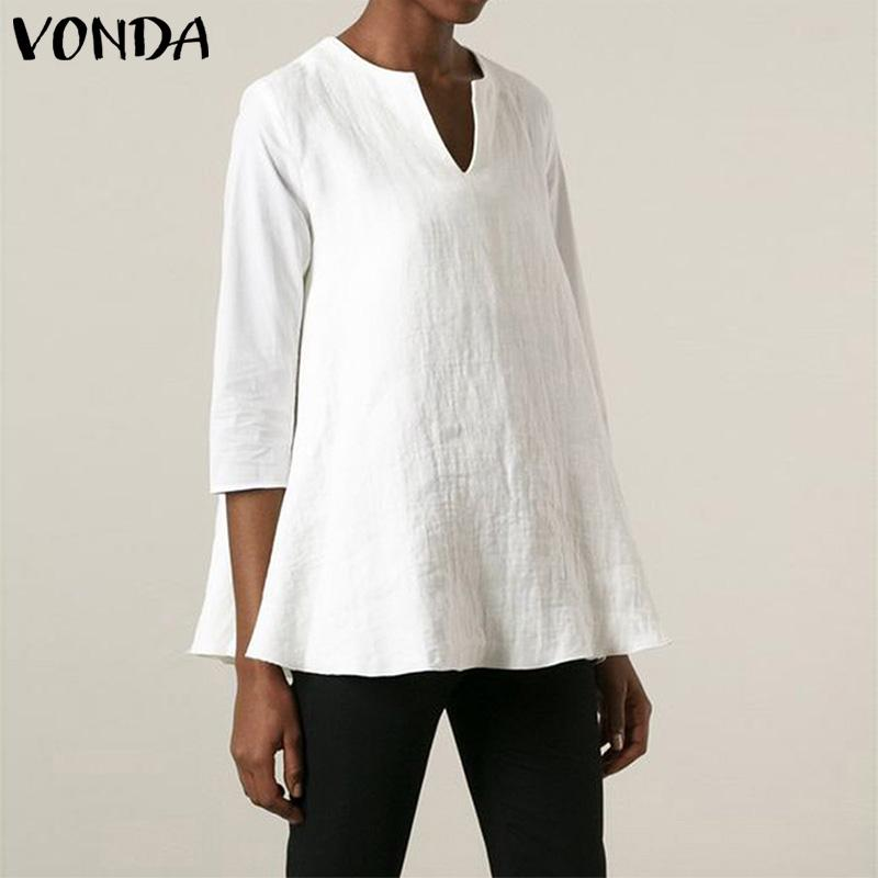 VONDA Womens Tops Long Sleeve Shirts Crew Neck Casual Baggy Blouse with Pockets