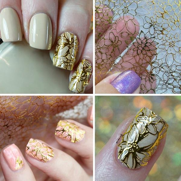 DIY Nail Art Gilding Hollow Out Stickers Tip Manicure Decal ...