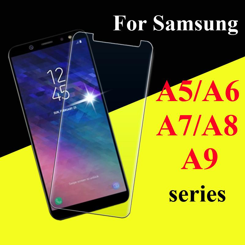 Защитное стекло на Samsung A 5 6 7 8 9 плюс 2018 2016 2017 Закаленное стекло Samsun Samsong фото