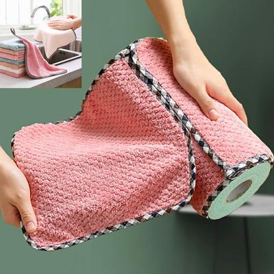 1/5/10pcs 25*25cm Kitchen Coral Velvet Dish Towel Rag Non-stick Oil Dish Cloth Double-sided Absorbent Thickening Scouring Pad