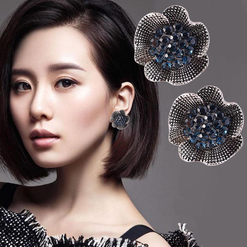 Элегантных женщин синий кристалл Rhinestone роза цветок уха клип серьги ювелирные изделия