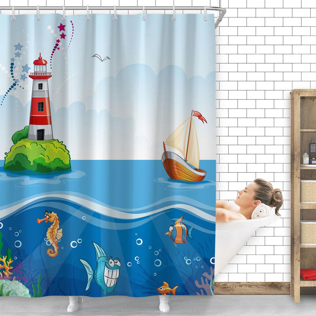 Shower Curtain Lighthouse Sailboat Digital Painting Waterproof Bathroom Bath Shower Curtain With 12 Hooks