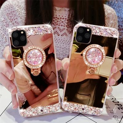 Luxury Crystal Soft Rubber Diamond Glitter Mirror Ring Bracket Phone Case For iPhone Samsung Huawei Xiaomi