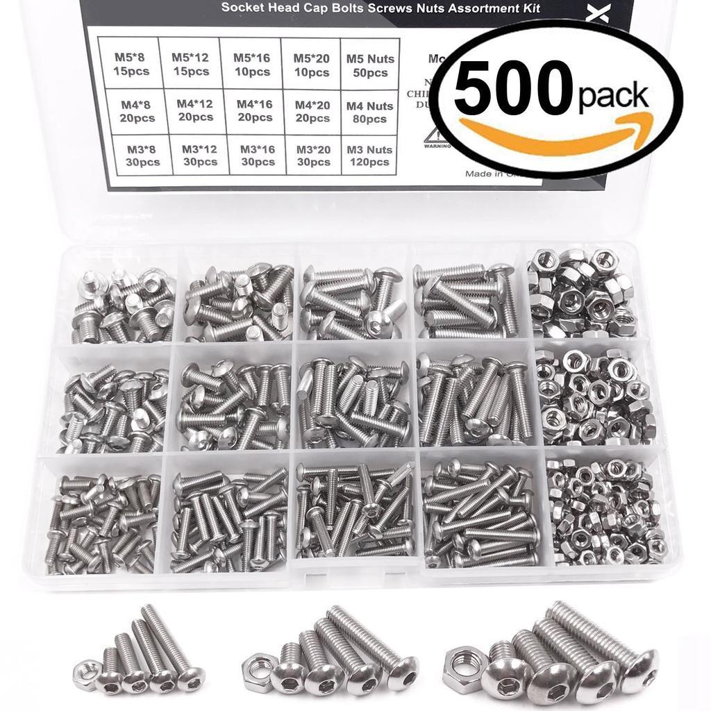 80 pcs,Stainless Steel M6 Button Head Socket Cap Screws,Hex Nuts,Flat Washers,Assortment Kit