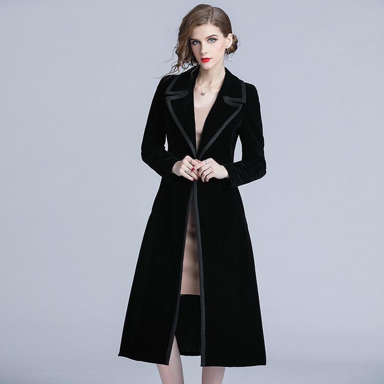 Women S Long Black Velvet Trench Coat, Velvet Trench Coat For Ladies
