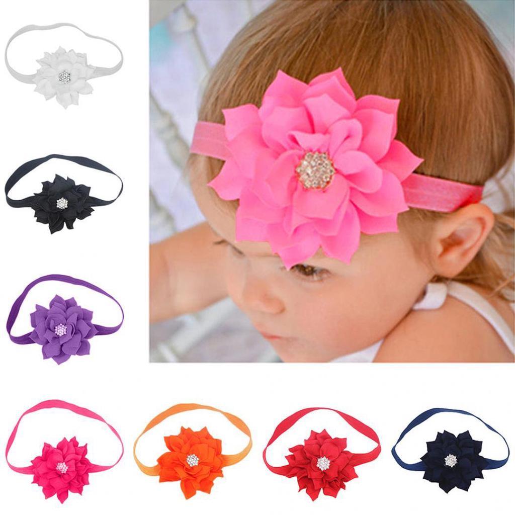 Cute Lotus Flower Hair Band Elastic Headband Toddler Baby Girls Hair