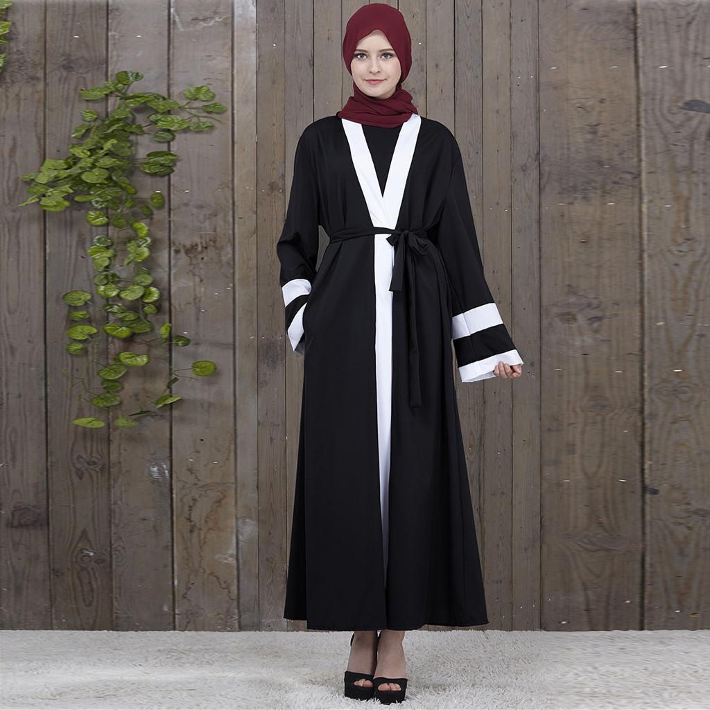 Dubai Women Open Cardigan Jilbab Kaftan Abaya Muslim Kimono Arab Robe Maxi Dress