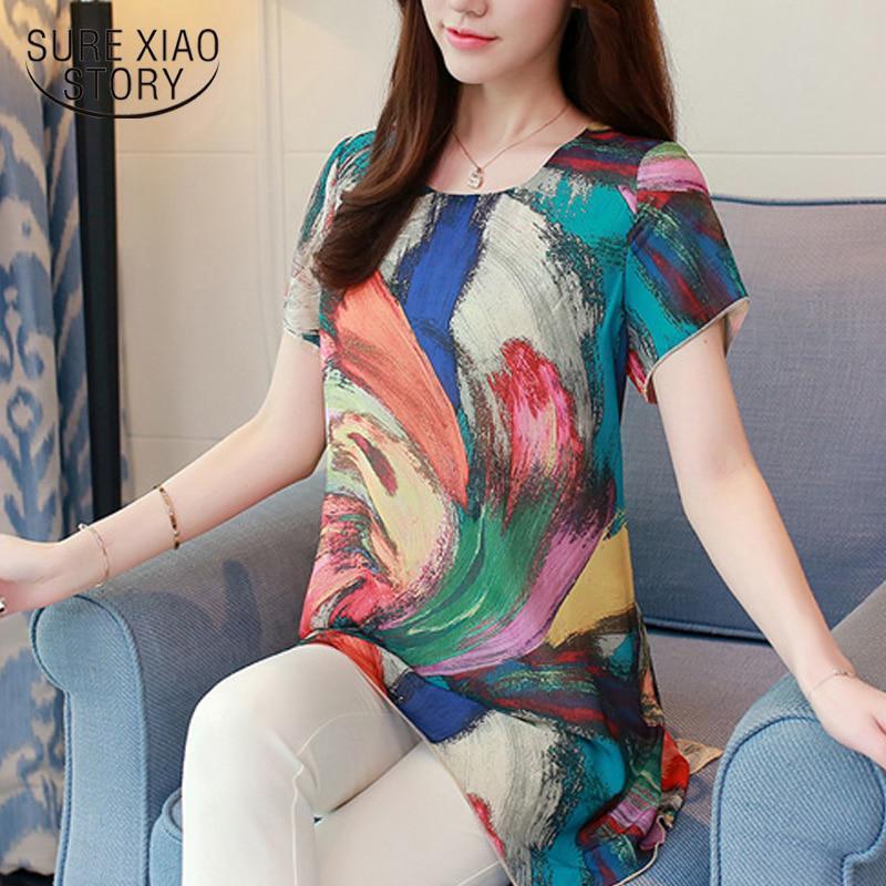 Конечно СЯО рассказ женщины блузки рубашки шифон Vintage плюс размер одежды цветочные печати случайные леди топы