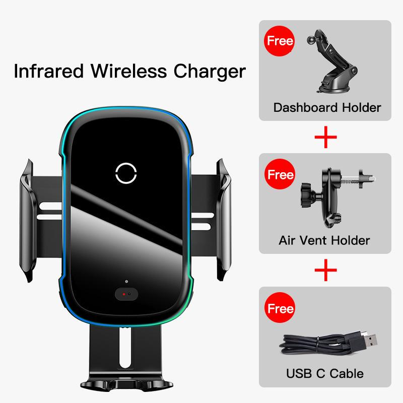 Baseus Intelligent Infrared 15W Wireless Car Charger for iPhone 11 Pro Samsung Fast Wireless Charge