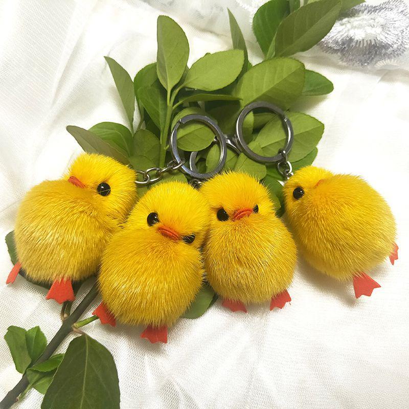 Small Chick Yellow Duck Plush Doll Pendant Key Holder Handbag Hanging Decor