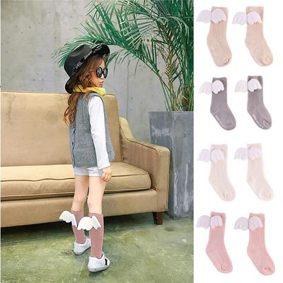 Random Style 3 Pair Baby Knee High Cotton Socks Soft Comfortable Breathable Toddler Stockings