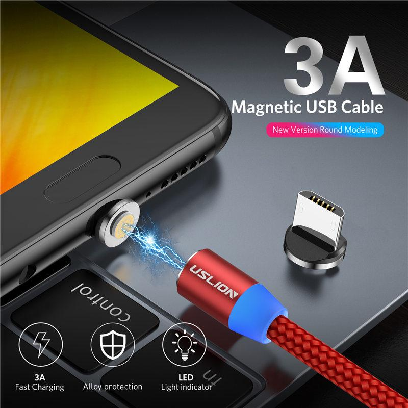 1M 3A Magnetic Charging Micro USB Cable USB Type C Cable Mobile Phone QC3.0 Fast Magnet Charger