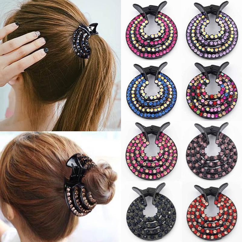 Fashion Women Crystal Hair Clips Nest Hair Claw Hairgrip Hair Bun Holders