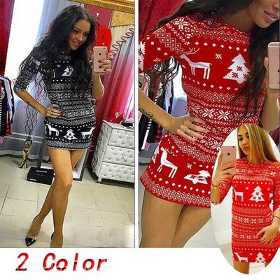 Fashion Women Christmas Fashion Ladies Sexy Deer Print Slim Fit Sweater Dress Buy At A Low Prices On Joom E Commerce Platform
