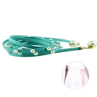 b5b9e891 Perlas decorativas mujeres Slim cuero cintura cadena cuerda correa de la  señora perla decoración (azul claro)