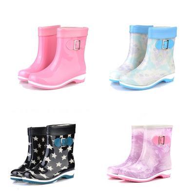 Arshiner Bottes pluie neige floral caoutchouc étanche chaussures pour enfant taille 17-23 pMPBA