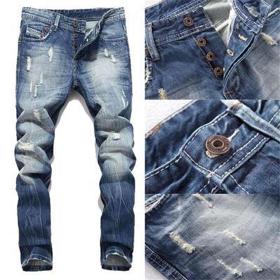 Men/'s Skinny Jeans Trousers Biker Destroyed Frayed Slim Fit Denim Ripped Pants