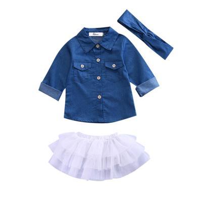 UK Stock Summer Girls Shirt Tops+Tutu Skirts Dress Outfit 3Pcs Set Kids Clothes