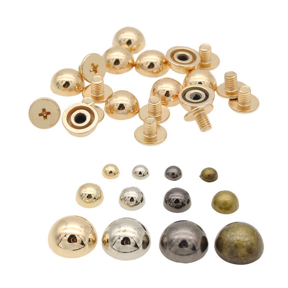 10pcs Metal Mushroom Dome Studs Rivets Spikes for Leathercraft DIY Gold 10mm