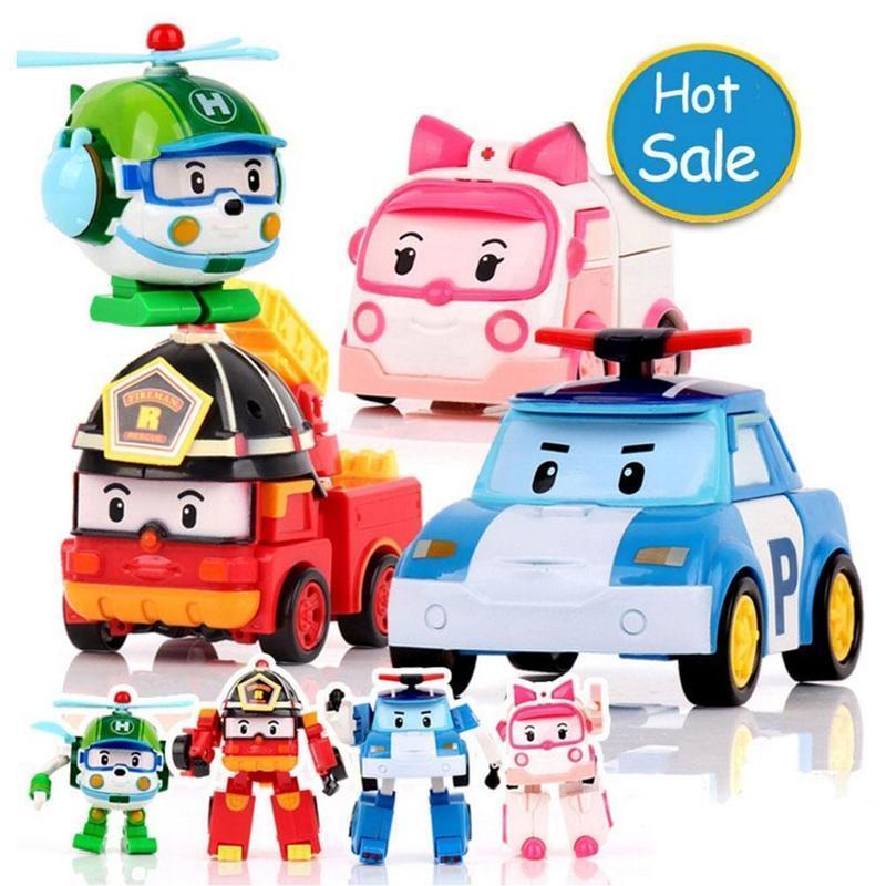 儿童玩具Q版韩国手动POLI珀利变形机器人警长套装玩具一件代发