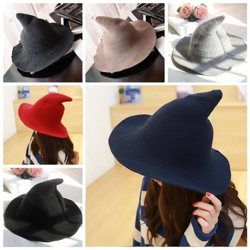 32b627a28 Hat long large wool cap spire winter knitted hat women's halloween costume  witch hat