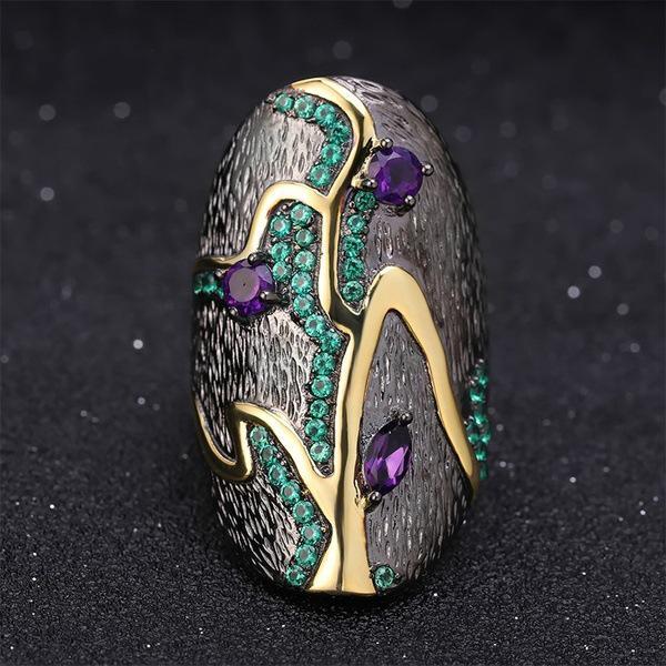 Женское кольцо с уникальным дизайном в виде дерева со стразами и камнями фото
