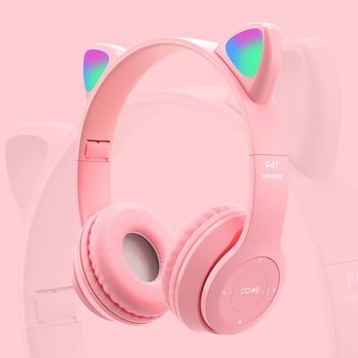 Wireless Headphones Cat Ear LED Light Up Bluetooth Foldable Headphones Over Ear Microphone for Online Distant Learning
