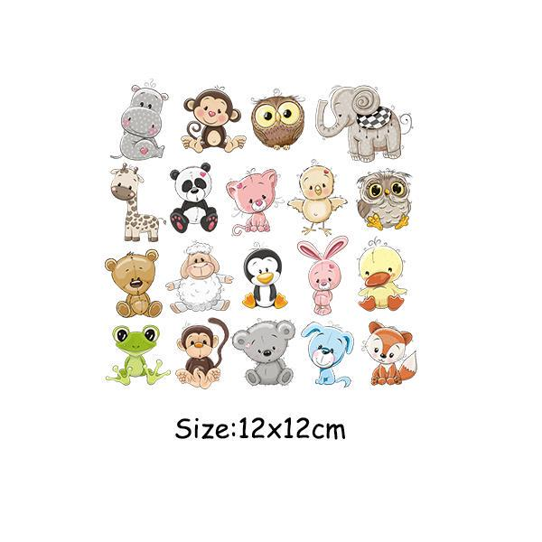 1 Set Cute Animals Flowers Patches Iron On Heat Transfers Shirt Clothes Stickers