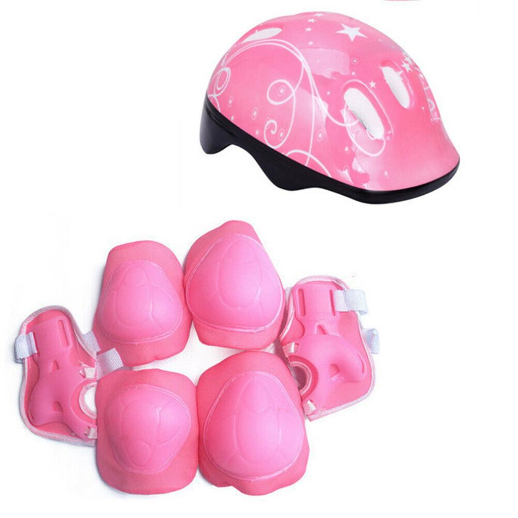 7Pcs//Set Children Kids Safety Helmet Knee Elbow Pad Cycling Skate Bike Protect