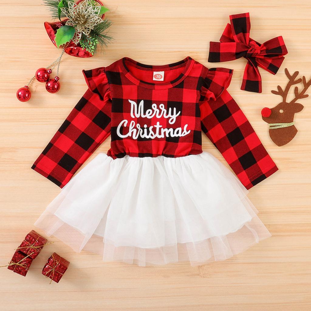 My First Christmas Baby Girls Outfit Christmas Print Bodysuit Tulle Tutu Dress 4Pcs Plaid Xmas Skirt Set Clothes