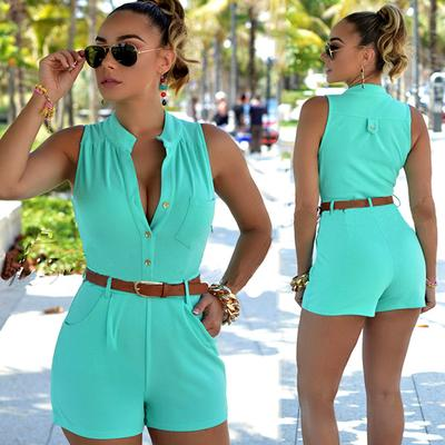 Womens Summer V-Neck Slim Solid Sleeveless Shorts Rompers Jumpsuits